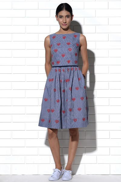 Rhodes gingham checks dress with hearts embroidery