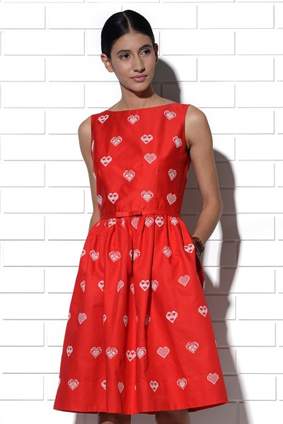 Rhodes red dress with hearts embroidery