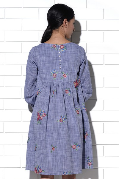Crete dress in blue with multi-rose embroidery
