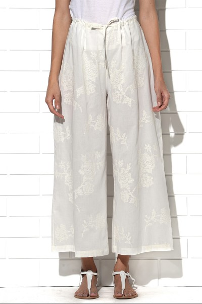 Elba embroidered wide leg pants in ivory