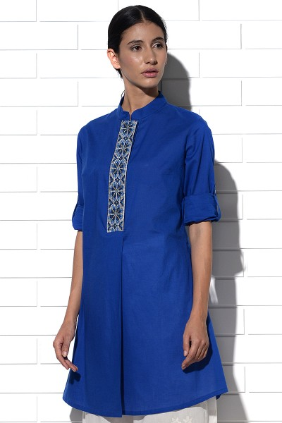 Angistri box pleat tunic in blue
