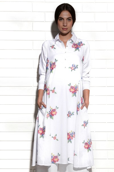 Imrali collared dress with multi-rose embroidery