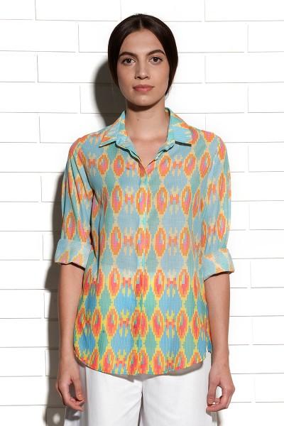 Ocean printed ikat shirt