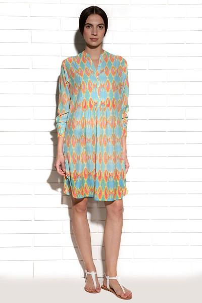 Aqua ombre pleated tunic