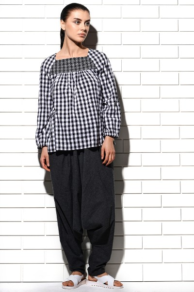 Alcazaba Embroidered Woven Checks Blouse