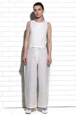 Chinook wide leg trouser with cross stitch border embroidery